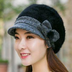 Elegance bow beret hat for women Rabbit fur newsboy cap winter wear