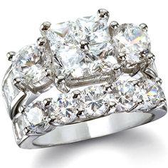 Josephine's Intricate Princess & Round CZ Wedding Ring Set