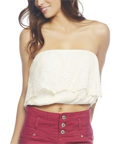 """Boho-chic little tube top features a beautiful floral embroidered crochet body with a scalloped trim bust ruffle, and an elasticized bust and bottom creating a slight blouson look. Tube top is fully lined.    Model is 5'9"""" and wears a size small      Self: 55% Cotton / 45% Polyester - Lining: 10% Polyester  Machine Wash  Imported"""