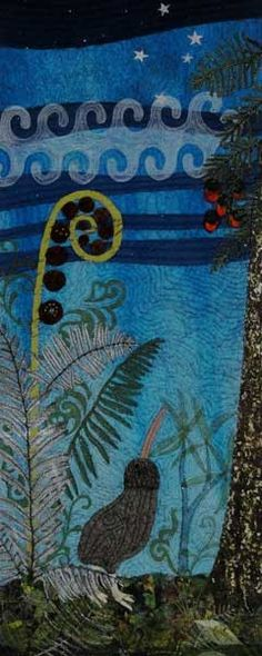 Kiwi's Nocturne by Monica Johnstone, a contemporary textile work from Beneath the Southern Sky exhibition