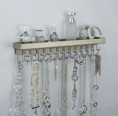 Amazon.com - Wall Mount Necklace Holder Hanging Jewelry Organizer Closet Storage (Click to see Colors) Angelynn's Schelon Necklace Rack Silv...