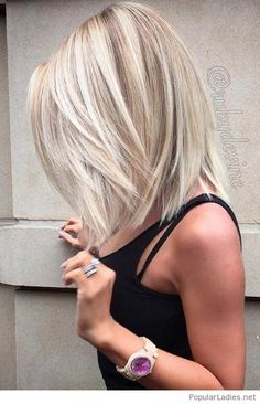 Amazing short blonde hair with black top