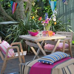 Colourful country-style garden patio