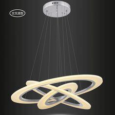 Lüks Modern LED Dairesel Pandant Lambası Avize Avize Işıkları Cristal Parlaklık Aydınlatması Akrilik Beyaz RC Ayarlanabilir 110V 220V