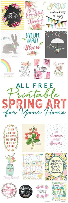 FREE Pretty Spring Printable Art! Add a touch of spring to your home easily and quickly with these beautiful spring printables! Grab a frame and add a print in less than 5 minutes! (Minutes Template Free Printable)