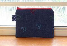 Anchor Embroidered Denim Zippered Pouch