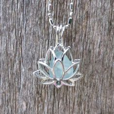 Sea Glass Lotus Flower Locket Aqua by Wave of LIfe by WaveofLife, $18.00