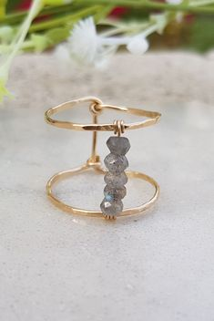 London Blue Topaz and Diamond Birthstone Ring / Gold London Blue Topaz and Diamond Gift for Her / December Birthstone Ring - Fine Jewelry Ideas Wire Jewelry Rings, Wire Jewelry Designs, Handmade Wire Jewelry, Handmade Rings, Beaded Rings, Cute Jewelry, Wire Wrapped Jewelry, Crystal Jewelry, Jewelry Crafts