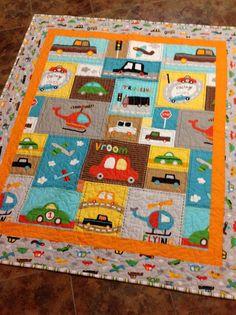 Baby boy crib quilt  Vroom 2  cars trucks