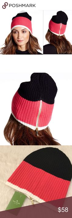 NWT Kate Spade Zip Up Beanie Adorable zip beanie by Kate Spade in Pink Swirl-Black-Cream.  Allover rib knit construction.  Colorblock pattern.  Back zip-up detail.  100% acrylic. kate spade Accessories Hats