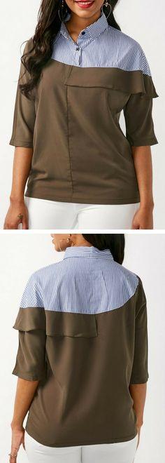 Patchwork Half Sleeve Turndown Collar Striped Blouse.