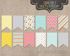 Printable Party Banner PDF Printable Bunting Red Aqua Blue Yellow & Gray…