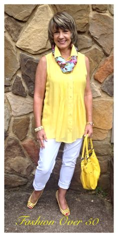 "Yellow, white and. Even ""over can go crazy once in a while! Purse and shoes from The Clothes Mentor. I like the shirt but without the collar and scarf. Over 60 Fashion, Over 50 Womens Fashion, 50 Fashion, Fashion Outfits, Fashion Tips, Fashion Trends, Street Fashion, Fashion Clothes, 50s Outfits"