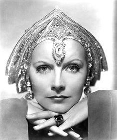 Greta Garbo with Art Deco Head Dress