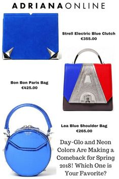 Shop ADRIANAONLINE designers selection and finest designers you might not know yet. Blue Shoulder Bags, Blue Clutch, Neon Colors, Electric Blue, Fashion Spring, Bag Sale, Cobalt Blue, Your Favorite, Spring Summer