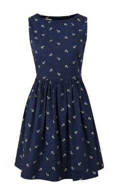 anchor dress navy blue