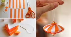Cut the paper into strips and combine them using needle and thread to create beautiful paper Christmas tree ornament.