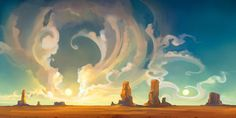 Monument Valley illustration, desert with rock formations graphic wallpaper concept art fantasy art Concept Art Landscape, Fantasy Landscape, Landscape Art, Desert Landscape, Landscape Wallpaper, Fantasy Kunst, Fantasy Art, Wallpaper Fofos, Graphic Wallpaper