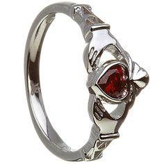 JANUARY Birthstone Silver Claddagh Ring LS-BSRV2-1