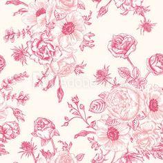 Seamless pattern flowers and butterflies. - Bild | Adobe Stock