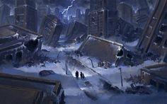 A panel I did for Romantically Apocalyptic RA - Ruined Cityscape Post Apocalypse, Apocalypse World, Fantasy City, Fantasy World, Diy Camping, Camping Hacks, Nuclear Winter, Post Apocalyptic Art, Environmental Art