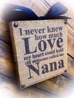 Nana Sign Wood Burlap Block Love Nana Mimi by DesignsBySyds