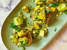Get Grilled Swordfish with a Grilled Mango Salsa Recipe from Food Network Fish Recipes, Seafood Recipes, New Recipes, Healthy Recipes, Favorite Recipes, Mango Salsa Recipes, Mango Avocado Salsa, Fish Dishes, Seafood Dishes
