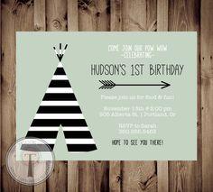 TEEPEE Birthday Invitation Striped teepee birthday by T3DesignsCo