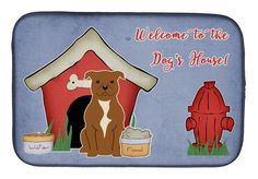 Dog House Collection Staffordshire Bull Terrier Brown Dish Drying Mat BB2801DDM