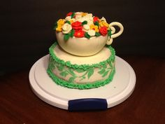 Cup with flowers cake