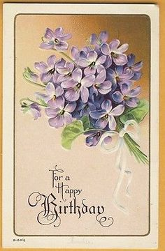 vintage-greetings-postcard-BIRTHDAY-For-a-Happy-embossed-violets-bouquet-1913
