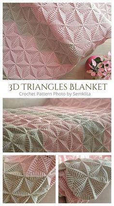 Crochet Triangle Pattern, Crochet Throw Pattern, Afghan Crochet Patterns, Crochet Motif, Crochet Designs, Knitting Patterns, Crochet Throws, Crocheted Blankets, Crochet Afgans