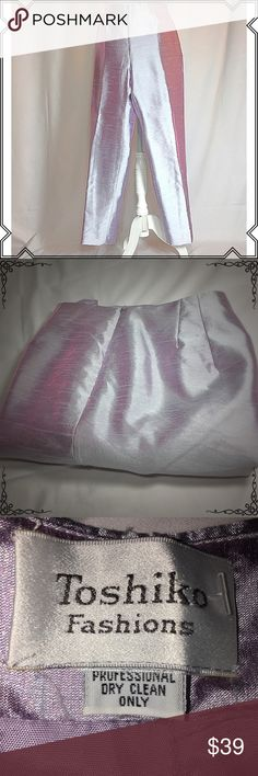 Toshiko Fashions Tapered Dress Pants EUC. Stunning tapered dress pants in rare color that you can transition from formal to any fashionable style. No holes, rips or stains. ❌Smoke and pet free home. ⚡️Same/next day shipping. 💲Save by bundling or make a reasonable offer through the offer button. 🚫No trades or modeling. Pants