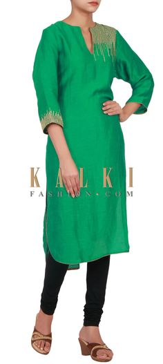 Buy Online from the link below. We ship worldwide (Free Shipping over US$100) http://www.kalkifashion.com/green-kurti-embellished-in-gold-sequin-embroidery-only-on-kalki.html