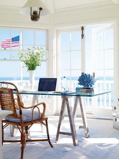 Step one: Have a waterfront home. Step two: Make sure to have plenty of floor to ceiling windows. Step three: Make this my home office.