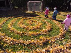 Autumn Leaf maze in the back garden - great idea, just watch out for nesting hedgehogs!