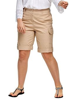 Ellos Women's Plus Size Convertible Cargo Shorts New Khaki,18   Special Offer: $29.68      166 Reviews Use the roll tabs to convert from shorts to bermudas. Single button and zip closure, belt loops, side slit pockets. Front side patch pockets with buttons, back welt slit...