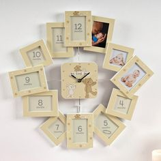Button Corner Photo Frame Clock - My First Year, A Great Baby Gift | GettingPersonal.co.uk