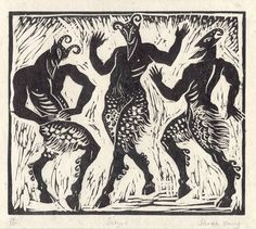 Satyrs - Linocut by Sarah Young
