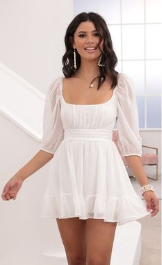 White Dress Outfit, Summer Dress Outfits, White Ruffle Dress, Chiffon Dress, White Chiffon, White Fitted Dress, Classy Going Out Outfits, Classy Sexy Outfits, Grad Dresses