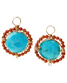 Color abounds in these gem drop earrings that contrast bright blue turquoise, sourced from the Sleeping Beauty mines in Arizona, with faceted sandstone that glimmers with gold flecks. These beauties a
