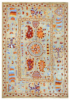 Suzani is the extraordinarily beautiful and intricate embroidery tradition of Uzbekistan. Threads of silk or cotton are dyed vivid colors and stitched into the elaborate designs used to decorate bed covers, table cloths, and other household items.
