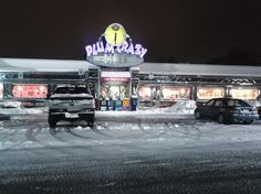 A snowy night at Plum Crazy Diner Westminster MD