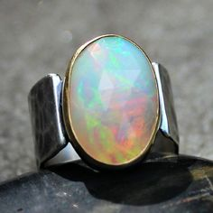 Opal Ring  Big Opal Ring  Ethiopian Opal Ring  Opal by lsueszabo
