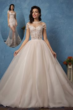 Stunning Tulle & Satin Bateau Neckline See-through 2 In 1 Wedding Dresses With Lace Appliques - demebridal. 2 In 1 Wedding Dress, Wedding Dresses, Bateau Neckline, See Through, Lace Applique, Appliques, Lace Dress, Ball Gowns, Tulle