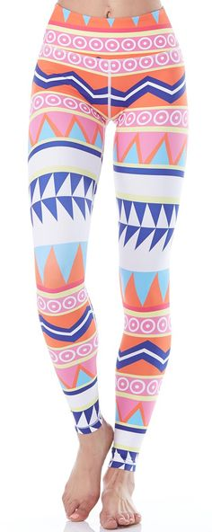 The Flexi Lexi Flexi Yoga Legging will add style to any studio ensemble with an Aztec print full of modern tribal flair and fun pops of vibrant color. #evolvefitwear