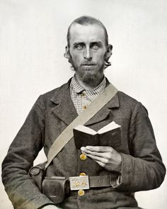 Civil War Photo Print Confederate Soldier Holding Book A Bible