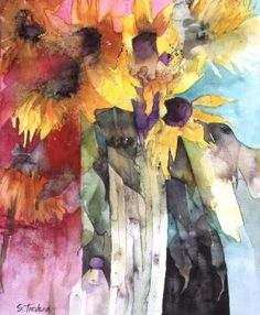 Shirley Trevena: Last Sunflowers  Absolutely Love this woman's paintings and style!