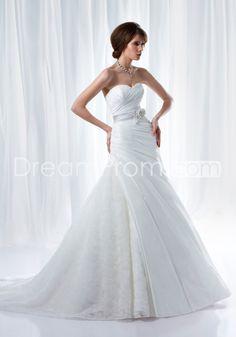 Pretty A-line Sweetheart Sleeveless Floor-length Chapel Flowers & Pick-up Wedding Dresses