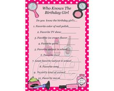 Who Knows The Birthday Girl Printable birthday party game for kids. Print cards for all your birthday guests and have them answer questions about the birthday girl. The person with the most correct answers wins. **THIS IS AN INSTANT DOWNLOAD FILE**  CUSTOMIZATION OF THIS ITEM IS NOT AVAILABLE AT THIS TIME.  You will receive an email from Etsy with the link to download this file as soon as payment clears.  You can access your files at any time by visiting etsy.com/your/purchases and clicking…